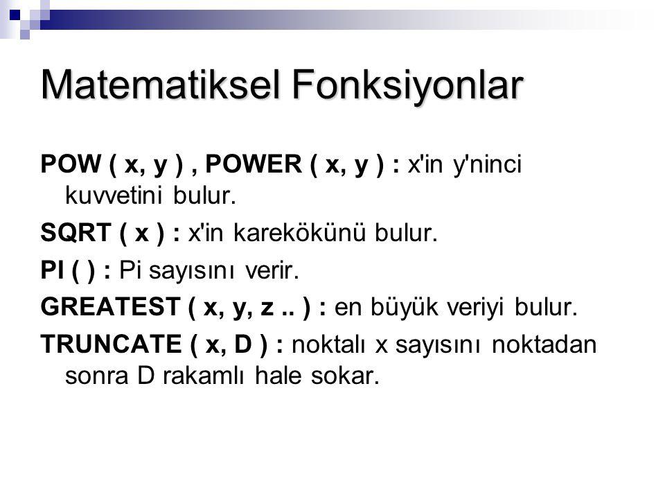 Matematiksel Fonksiyonlar POW ( x, y ), POWER ( x, y ) : x'in y'ninci kuvvetini bulur. SQRT ( x ) : x'in karekökünü bulur. PI ( ) : Pi sayısını verir.