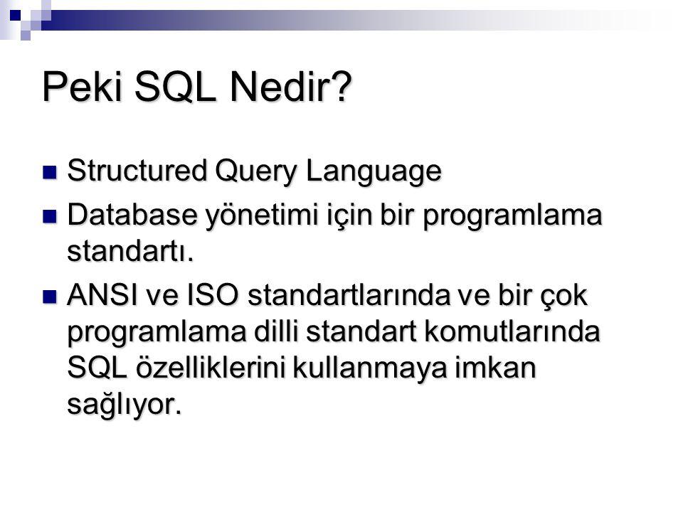 Peki SQL Nedir? Structured Query Language Structured Query Language Database yönetimi için bir programlama standartı. Database yönetimi için bir progr