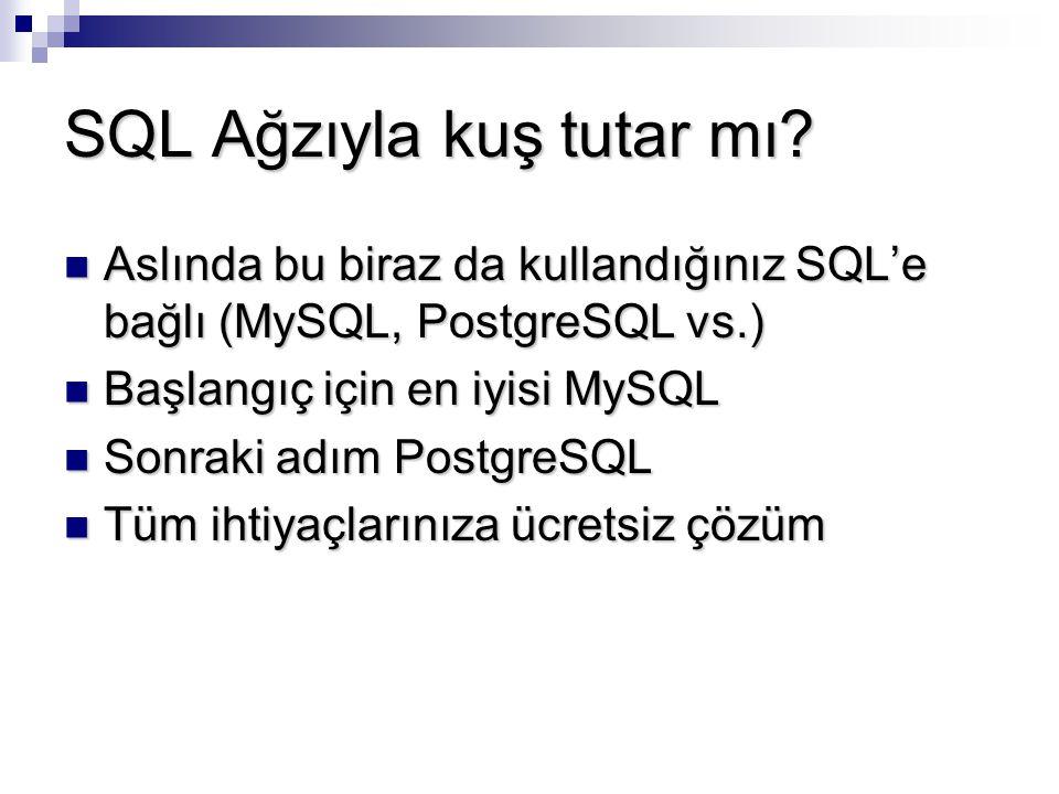SQL Ağzıyla kuş tutar mı? Aslında bu biraz da kullandığınız SQL'e bağlı (MySQL, PostgreSQL vs.) Aslında bu biraz da kullandığınız SQL'e bağlı (MySQL,