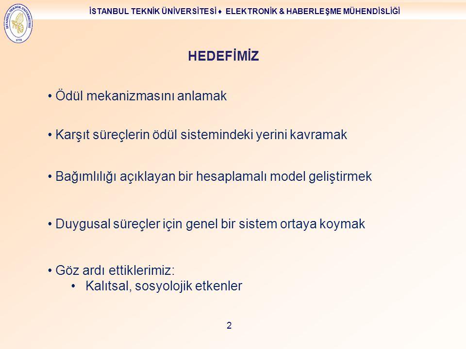 İSTANBUL TEKNİK ÜNİVERSİTESİ ♦ ELEKTRONİK & HABERLEŞME MÜHENDİSLİĞİ 2 Ödül mekanizmasını anlamak Bağımlılığı açıklayan bir hesaplamalı model geliştirm