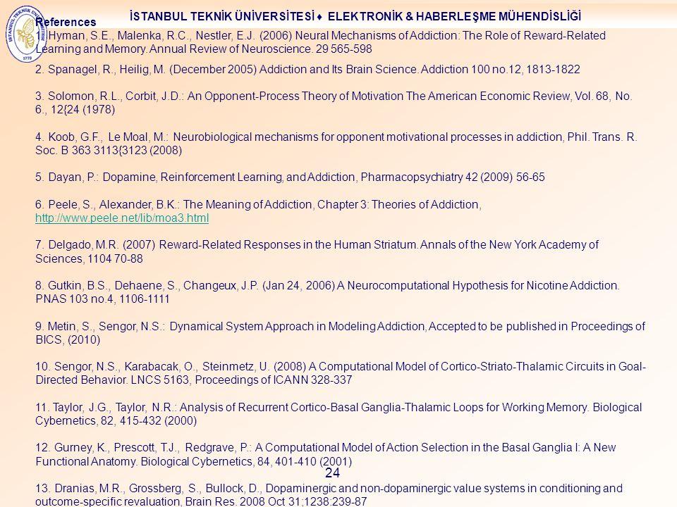 İSTANBUL TEKNİK ÜNİVERSİTESİ ♦ ELEKTRONİK & HABERLEŞME MÜHENDİSLİĞİ 24 References 1. Hyman, S.E., Malenka, R.C., Nestler, E.J. (2006) Neural Mechanism