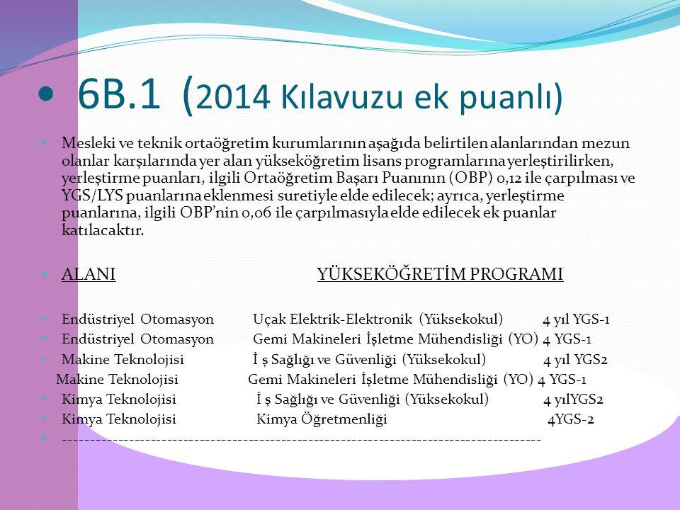 6B.1 ( 2014 Kılavuzu ek puanlı) Mesleki ve teknik ortaöğretim kurumlarının aşağıda belirtilen alanlarından mezun olanlar karşılarında yer alan yükseköğretim lisans programlarına yerleştirilirken, yerleştirme puanları, ilgili Ortaöğretim Başarı Puanının (OBP) 0,12 ile çarpılması ve YGS/LYS puanlarına eklenmesi suretiyle elde edilecek; ayrıca, yerleştirme puanlarına, ilgili OBP'nin 0,06 ile çarpılmasıyla elde edilecek ek puanlar katılacaktır.