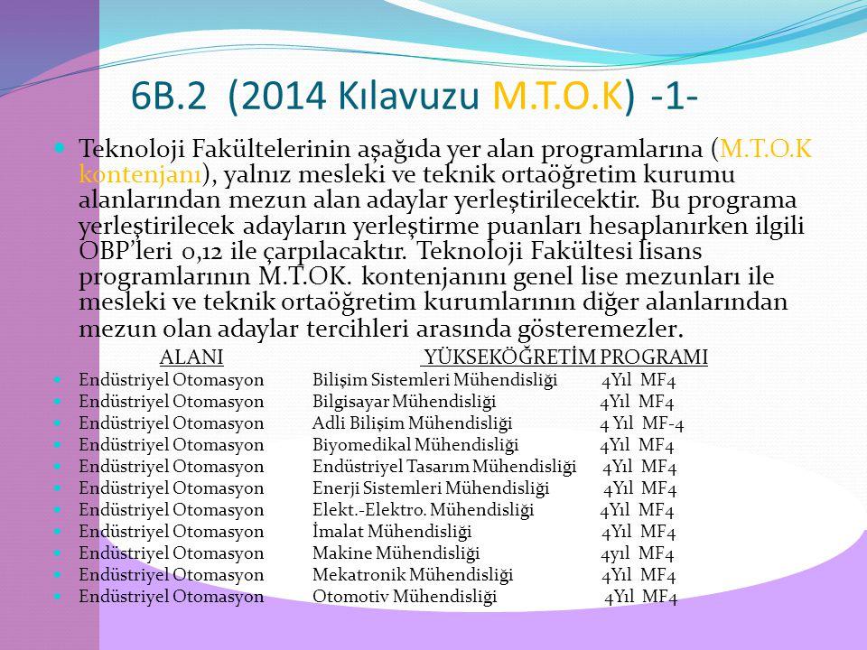6B.2 (2014 Kılavuzu M.T.O.K)-1- Teknoloji Fakültelerinin aşağıda yer alan programlarına (M.T.O.K kontenjanı), yalnız mesleki ve teknik ortaöğretim kurumu alanlarından mezun alan adaylar yerleştirilecektir.
