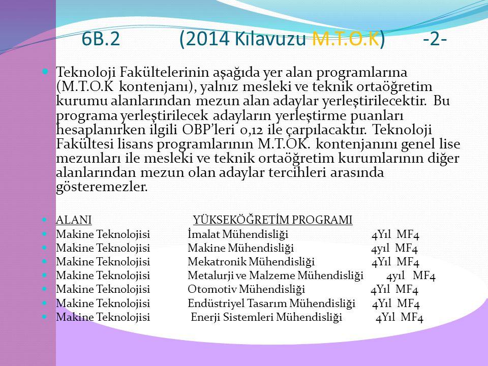 6B.2(2014 Kılavuzu M.T.O.K)-2- Teknoloji Fakültelerinin aşağıda yer alan programlarına (M.T.O.K kontenjanı), yalnız mesleki ve teknik ortaöğretim kurumu alanlarından mezun alan adaylar yerleştirilecektir.