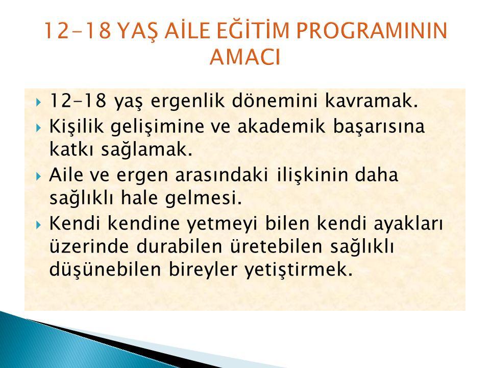  12-18 yaş ergenlik dönemini kavramak.  Kişilik gelişimine ve akademik başarısına katkı sağlamak.  Aile ve ergen arasındaki ilişkinin daha sağlıklı