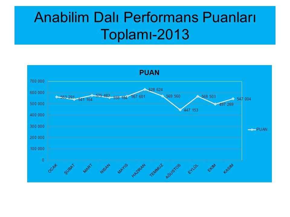 Anabilim Dalı Performans Puanları Toplamı-2013