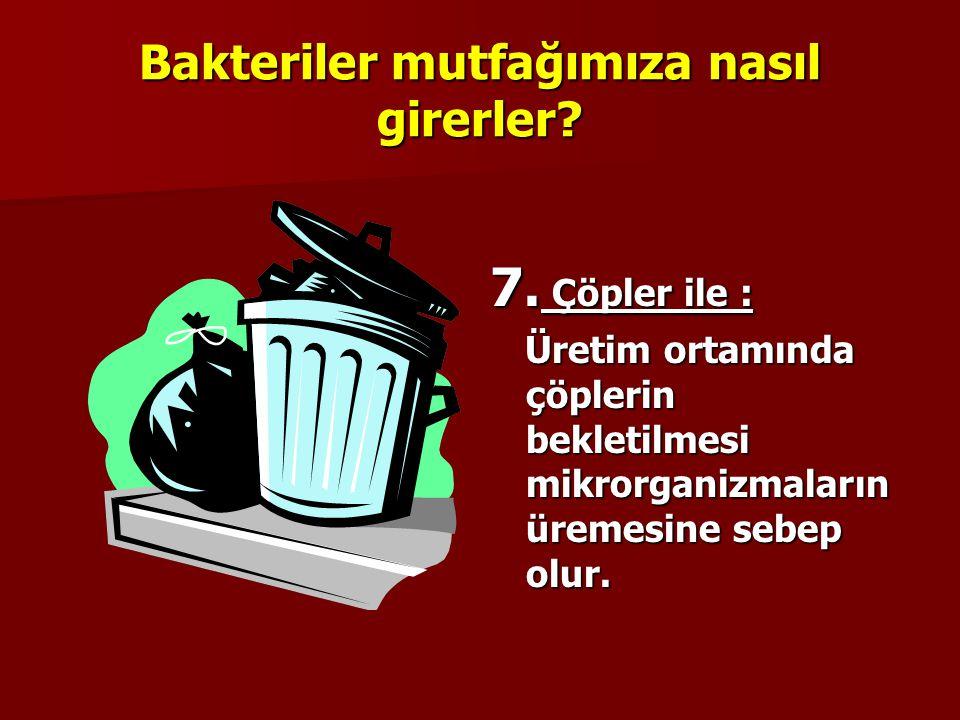 Bakteriler mutfağımıza nasıl girerler? 6. Zararlılar ile : Üretim ortamında uygun ilaçlama yapılmazsa, böcek, fare vb. zararlılar üreyebilir.Bu zararl