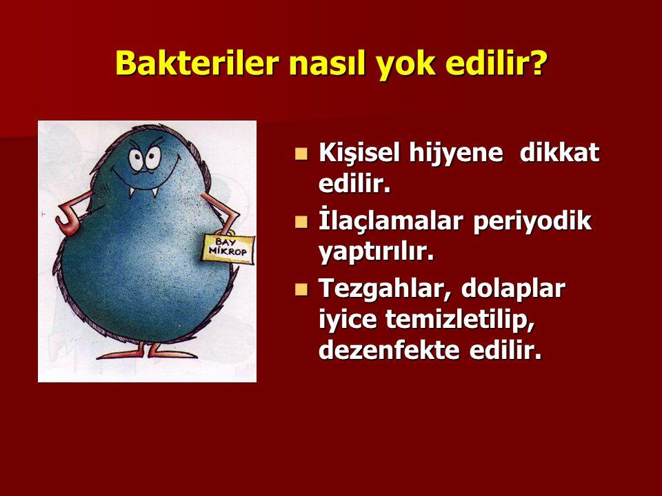 Bakteriler nasıl yok edilir? Çiğ sebze ve meyveler iyice yıkandıktan sonra, dezenfekte edilir. Çiğ sebze ve meyveler iyice yıkandıktan sonra, dezenfek