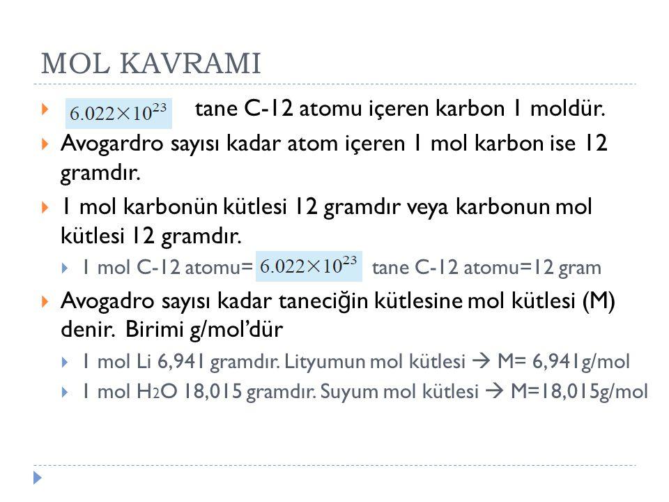 MOL KAVRAMI  tane C-12 atomu içeren karbon 1 moldür.  Avogardro sayısı kadar atom içeren 1 mol karbon ise 12 gramdır.  1 mol karbonün kütlesi 12 gr