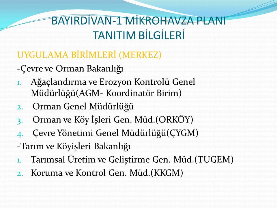 BAYIRDİVAN-1 MİKROHAVZA PLANI TANITIM BİLGİLERİ UYGULAMA BİRİMLERİ (MERKEZ) -Çevre ve Orman Bakanlığı 1. Ağaçlandırma ve Erozyon Kontrolü Genel Müdürl