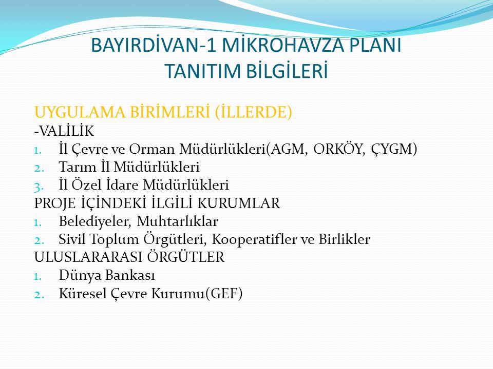 BAYIRDİVAN-1 MİKROHAVZA PLANI TANITIM BİLGİLERİ UYGULAMA BİRİMLERİ (İLLERDE) -VALİLİK 1. İl Çevre ve Orman Müdürlükleri(AGM, ORKÖY, ÇYGM) 2. Tarım İl
