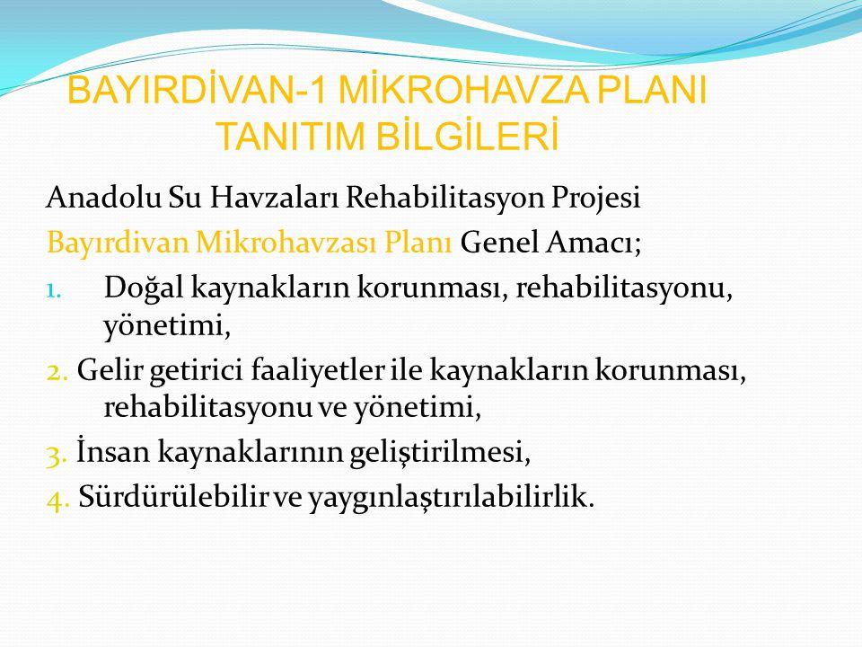 BAYIRDİVAN-1 MİKROHAVZA PLANI TANITIM BİLGİLERİ Anadolu Su Havzaları Rehabilitasyon Projesi Bayırdivan Mikrohavzası Planı Genel Amacı; 1. Doğal kaynak