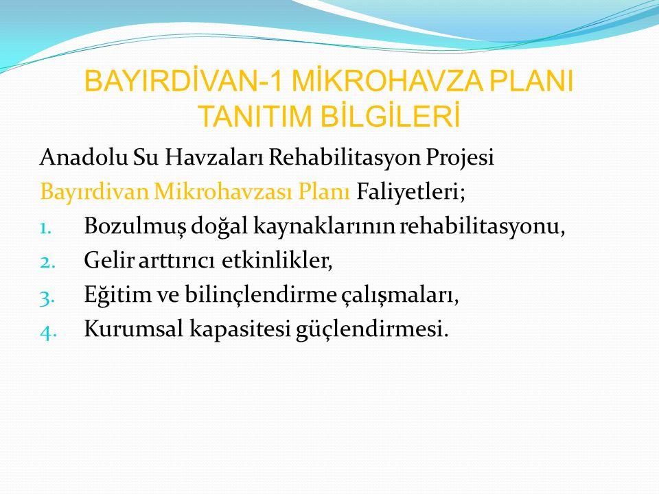 BAYIRDİVAN-1 MİKROHAVZA PLANI TANITIM BİLGİLERİ Anadolu Su Havzaları Rehabilitasyon Projesi Bayırdivan Mikrohavzası Planı Faliyetleri; 1. Bozulmuş doğ