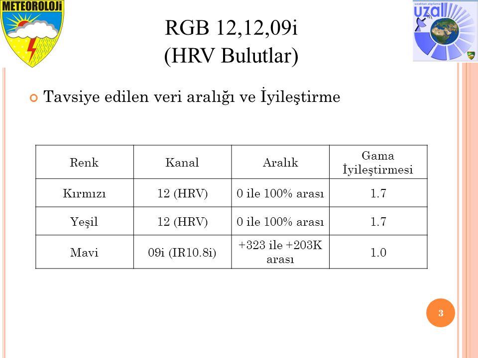 3 RGB 12,12,09i (HRV Bulutlar) Tavsiye edilen veri aralığı ve İyileştirme RenkKanalAralık Gama İyileştirmesi Kırmızı12 (HRV)0 ile 100% arası1.7 Yeşil12 (HRV)0 ile 100% arası1.7 Mavi09i (IR10.8i) +323 ile +203K arası 1.0
