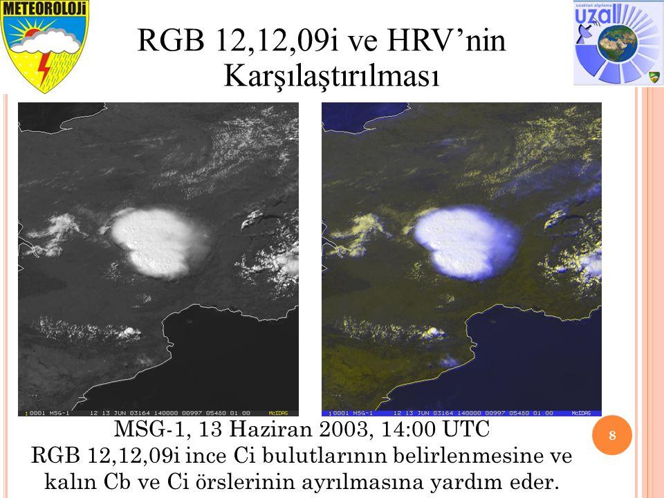 8 RGB 12,12,09i ve HRV'nin Karşılaştırılması MSG-1, 13 Haziran 2003, 14:00 UTC RGB 12,12,09i ince Ci bulutlarının belirlenmesine ve kalın Cb ve Ci örslerinin ayrılmasına yardım eder.