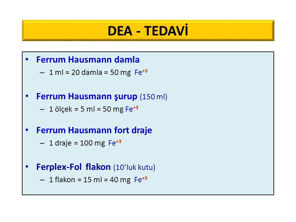 Ferrum Hausmann damla – 1 ml = 20 damla = 50 mg Fe +3 Ferrum Hausmann şurup (150 ml) – 1 ölçek = 5 ml = 50 mg Fe +3 Ferrum Hausmann fort draje – 1 dra