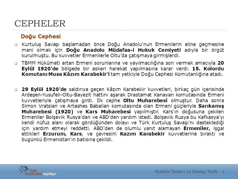 CEPHELER Doğu Cephesi  Kurtuluş Savaşı başlamadan önce Doğu Anadolu'nun Ermenilerin eline geçmesine mani olmak için Doğu Anadolu Müdafaa-i Hukuk Cemi