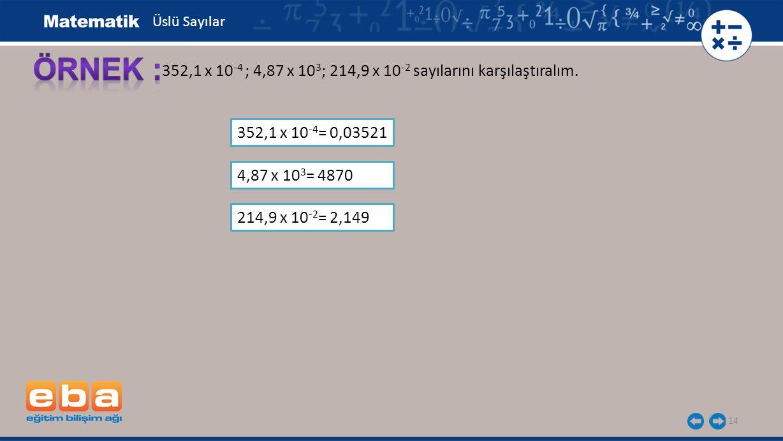 14 352,1 x 10 -4 ; 4,87 x 10 3 ; 214,9 x 10 -2 sayılarını karşılaştıralım. 352,1 x 10 -4 = 0,03521 Üslü Sayılar 4,87 x 10 3 = 4870 214,9 x 10 -2 = 2,1