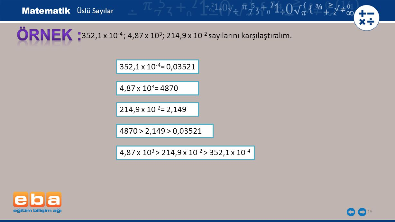15 352,1 x 10 -4 ; 4,87 x 10 3 ; 214,9 x 10 -2 sayılarını karşılaştıralım. 352,1 x 10 -4 = 0,03521 Üslü Sayılar 4,87 x 10 3 = 4870 214,9 x 10 -2 = 2,1