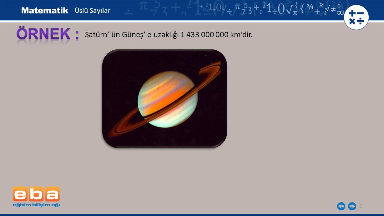7 Satürn' ün Güneş' e uzaklığı 1 433 000 000 km'dir.