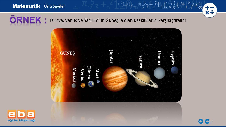 9 Dünya'nın Güneş'e olan uzaklığı = 14,96 x 10 7 Venüs'ün Güneş'e olan uzaklığı = 10,75 x 10 7 Satürn'ün Güneş'e olan uzaklığı = 143,3 x 10 7 143,3 x 10 7 > 14,96 x 10 7 > 10,75 x 10 7 Üslü Sayılar