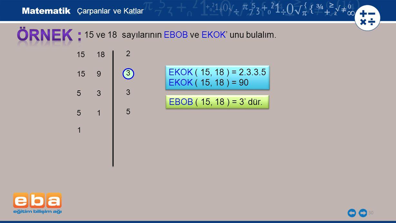 30 15 ve 18 sayılarının EBOB ve EKOK' unu bulalım. 3 3 5 2 Çarpanlar ve Katlar EKOK ( 15, 18 ) = 2.3.3.5 EKOK ( 15, 18 ) = 90 EKOK ( 15, 18 ) = 2.3.3.