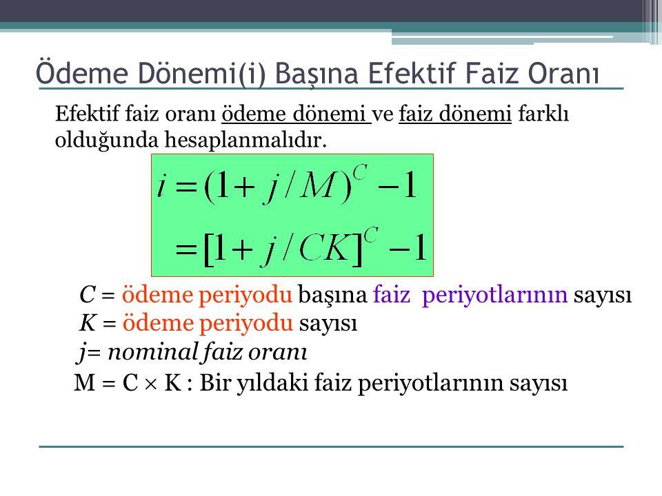 Ödeme Dönemi(i) Başına Efektif Faiz Oranı C = ödeme periyodu başına faiz periyotlarının sayısı K = ödeme periyodu sayısı j= nominal faiz oranı M = C 