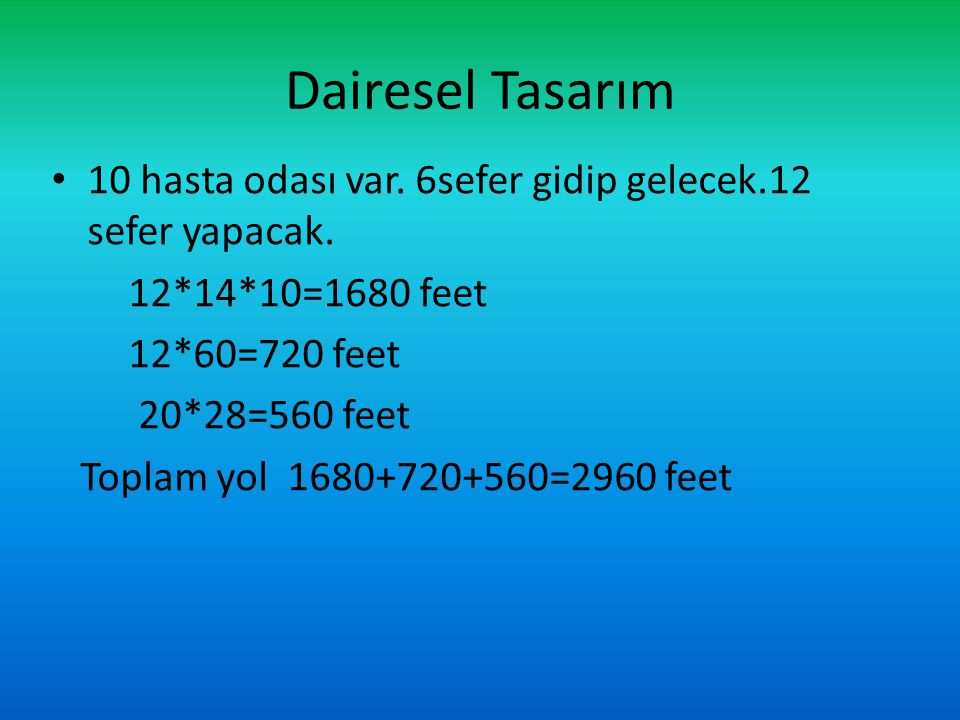 Dairesel Tasarım 10 hasta odası var. 6sefer gidip gelecek.12 sefer yapacak. 12*14*10=1680 feet 12*60=720 feet 20*28=560 feet Toplam yol 1680+720+560=2