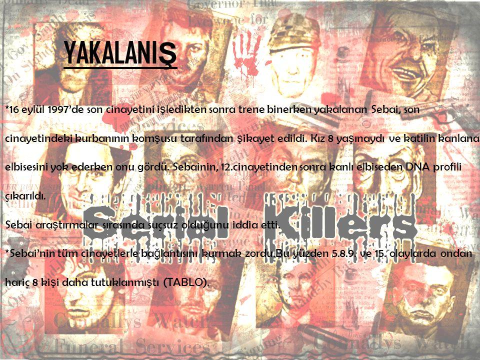 YAKALANI Ş *16 eylül 1997'de son cinayetini i ş ledikten sonra trene binerken yakalanan Sebai, son cinayetindeki kurbanının kom ş usu tarafından ş ika