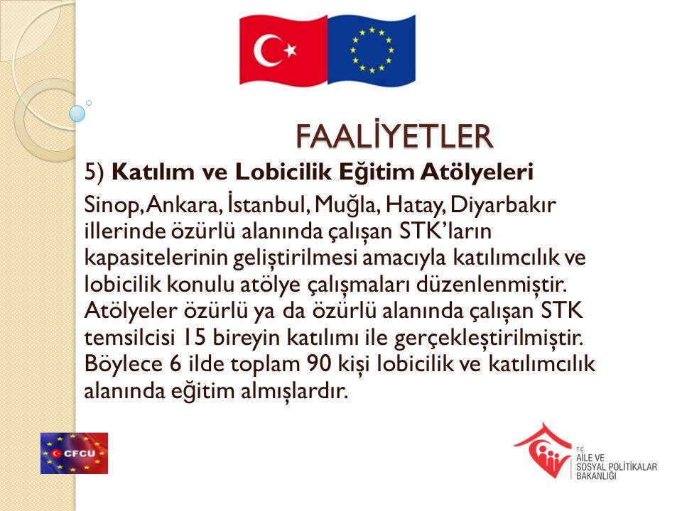 FAAL İ YETLER 5) Katılım ve Lobicilik E ğ itim Atölyeleri Sinop, Ankara, İ stanbul, Mu ğ la, Hatay, Diyarbakır illerinde özürlü alanında çalışan STK'l