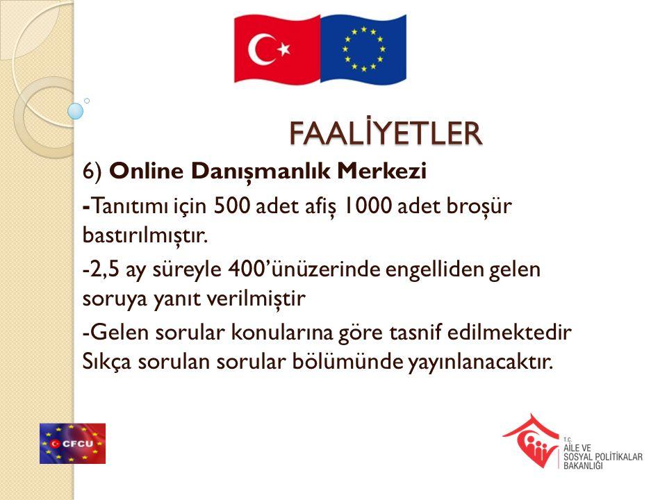 FAAL İ YETLER 6) Online Danışmanlık Merkezi -Tanıtımı için 500 adet afiş 1000 adet broşür bastırılmıştır. -2,5 ay süreyle 400'ünüzerinde engelliden ge