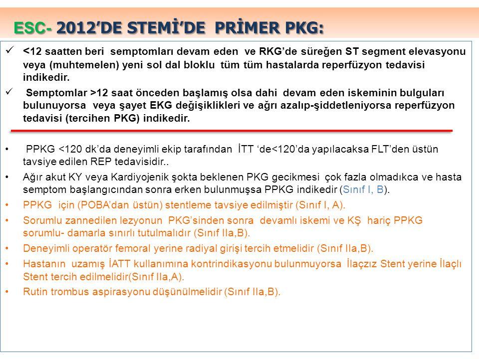 ESC- 2012'DE STEMİ'DE PRİMER PKG: < 12 saatten beri semptomları devam eden ve RKG'de süreğen ST segment elevasyonu veya (muhtemelen) yeni sol dal blok