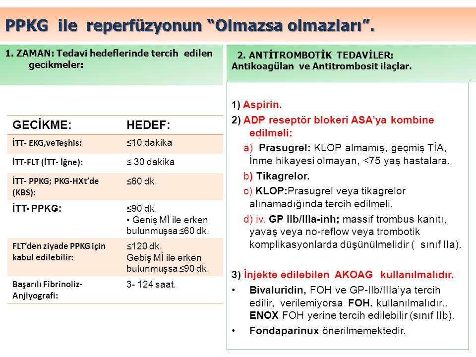 """PPKG ile reperfüzyonun """"Olmazsa olmazları"""". 1. ZAMAN: Tedavi hedeflerinde tercih edilen gecikmeler: 1 ) Aspirin. 2) ADP reseptör blokeri ASA'ya kombin"""