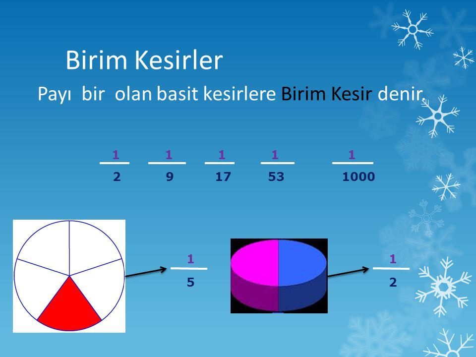 Birim Kesirler Payı bir olan basit kesirlere Birim Kesir denir. 1 1 1 1 1 2 9 17 53 1000 1 5 1 2