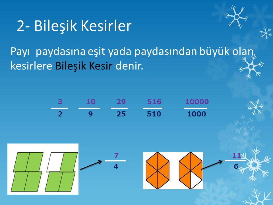 2- Bileşik Kesirler 3 10 29 516 10000 2 9 25 510 1000 Payı paydasına eşit yada paydasından büyük olan kesirlere Bileşik Kesir denir. 7 4 11 6