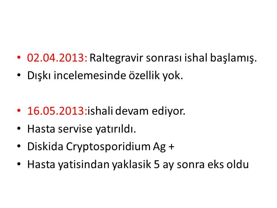 02.04.2013: Raltegravir sonrası ishal başlamış. Dışkı incelemesinde özellik yok. 16.05.2013:ishali devam ediyor. Hasta servise yatırıldı. Diskida Cryp