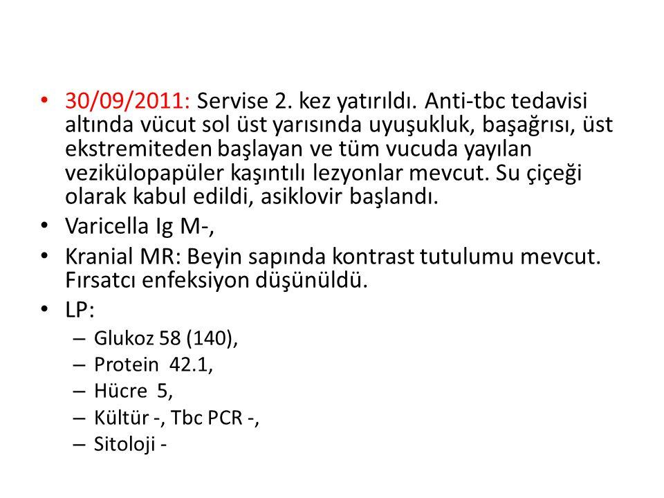 11-10-2011:Torax BT de lezyonlar aynı olmakla beraber ilave nodüller saptandı.