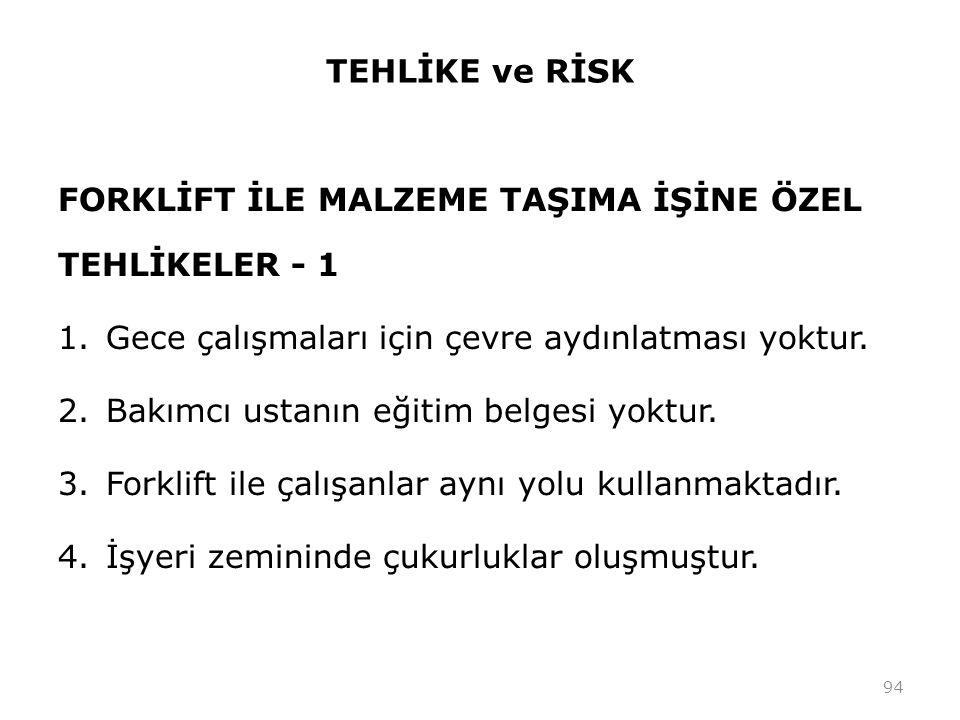 TEHLİKE ve RİSK FORKLİFT İLE MALZEME TAŞIMA İŞİNE ÖZEL TEHLİKELER - 1 1.Gece çalışmaları için çevre aydınlatması yoktur.