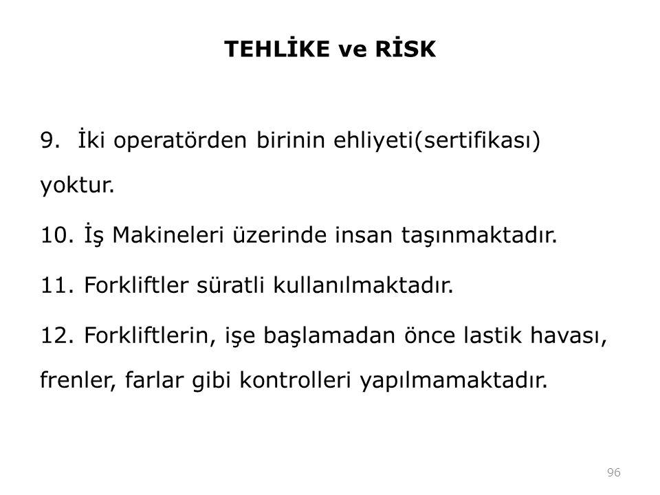 TEHLİKE ve RİSK 9.İki operatörden birinin ehliyeti(sertifikası) yoktur.