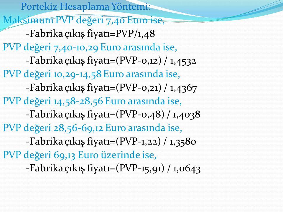Portekiz Hesaplama Yöntemi: Maksimum PVP değeri 7,40 Euro ise, -Fabrika çıkış fiyatı=PVP/1,48 PVP değeri 7,40-10,29 Euro arasında ise, -Fabrika çıkış
