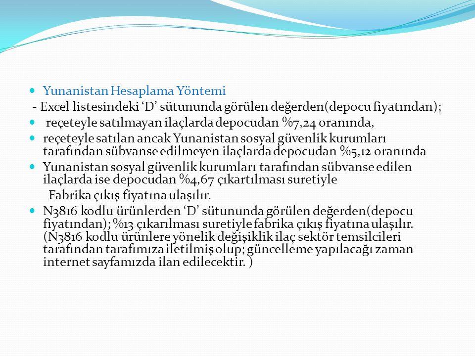 Yunanistan Hesaplama Yöntemi - Excel listesindeki 'D' sütununda görülen değerden(depocu fiyatından); reçeteyle satılmayan ilaçlarda depocudan %7,24 or