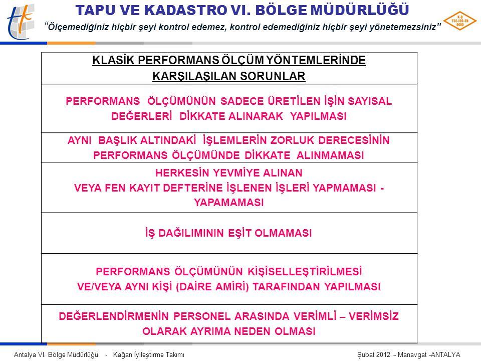 """Antalya VI. Bölge Müdürlüğü - Kağan İyileştirme Takımı Şubat 2012 – Manavgat -ANTALYA TAPU VE KADASTRO VI. BÖLGE MÜDÜRLÜĞÜ """" Ölçemediğiniz hiçbir şeyi"""