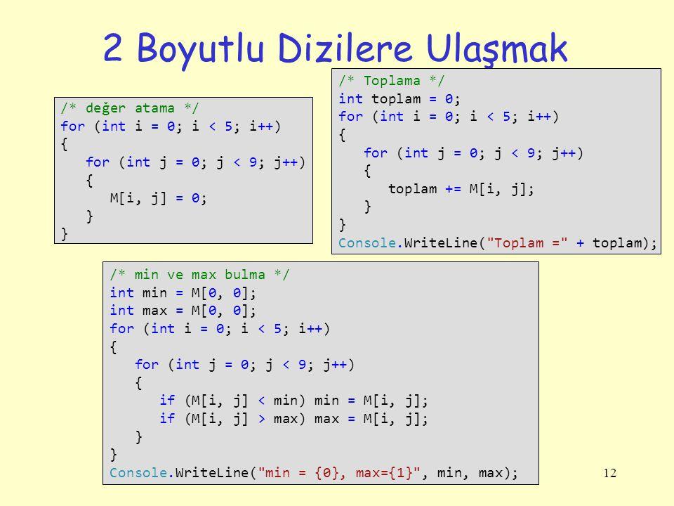 12 2 Boyutlu Dizilere Ulaşmak /* değer atama */ for (int i = 0; i < 5; i++) { for (int j = 0; j < 9; j++) { M[i, j] = 0; } /* Toplama */ int toplam =