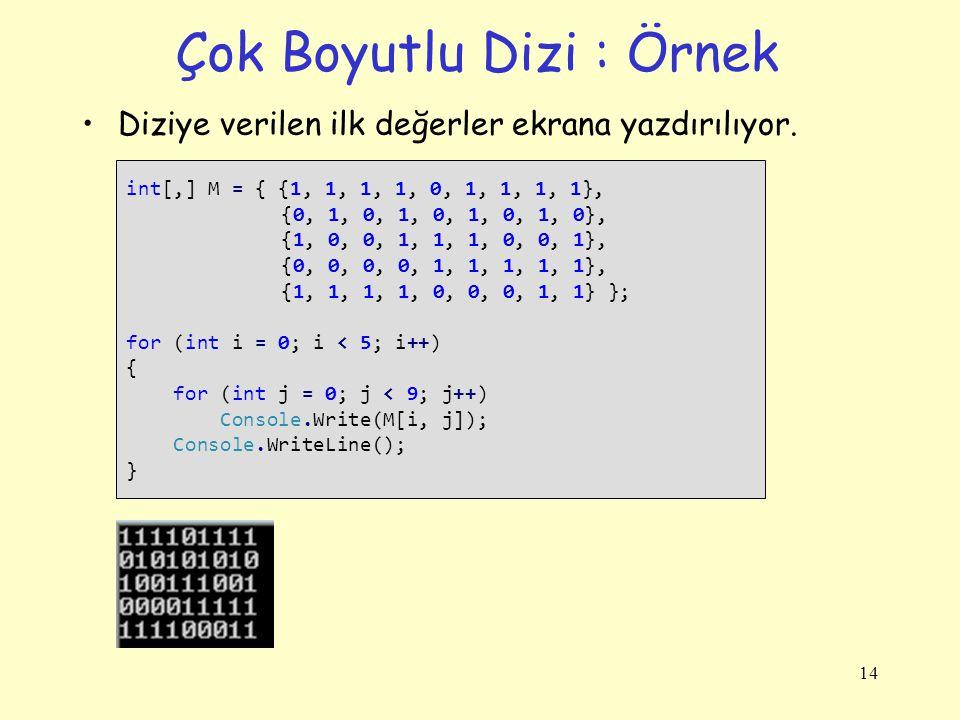 Çok Boyutlu Dizi : Örnek Diziye verilen ilk değerler ekrana yazdırılıyor. 14 int[,] M = { {1, 1, 1, 1, 0, 1, 1, 1, 1}, {0, 1, 0, 1, 0, 1, 0, 1, 0}, {1