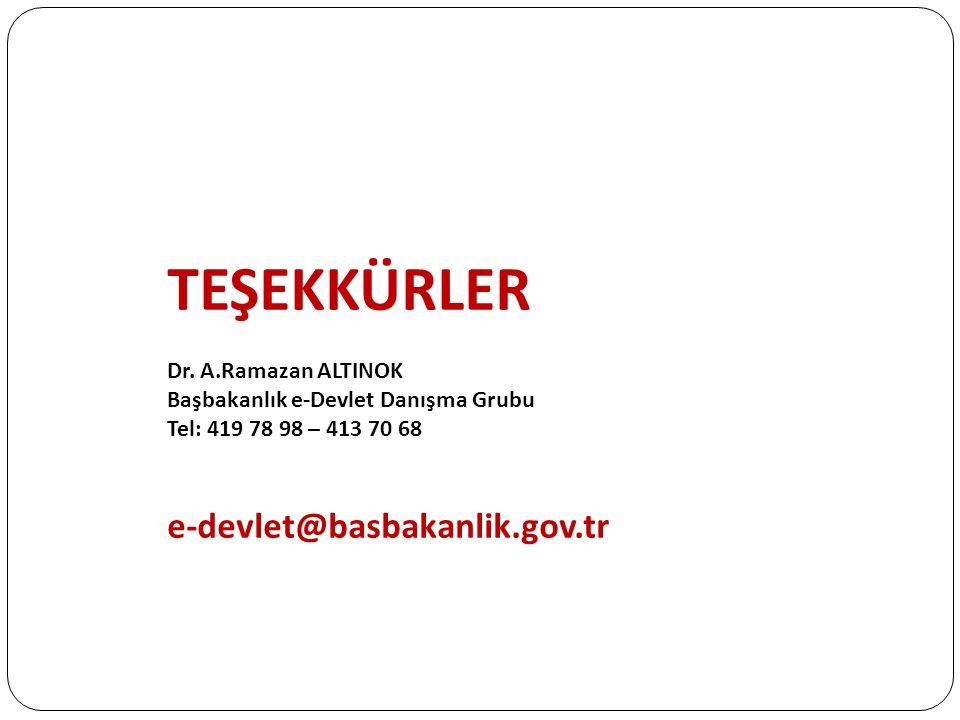 TEŞEKKÜRLER Dr. A.Ramazan ALTINOK Başbakanlık e-Devlet Danışma Grubu Tel: 419 78 98 – 413 70 68 e-devlet@basbakanlik.gov.tr