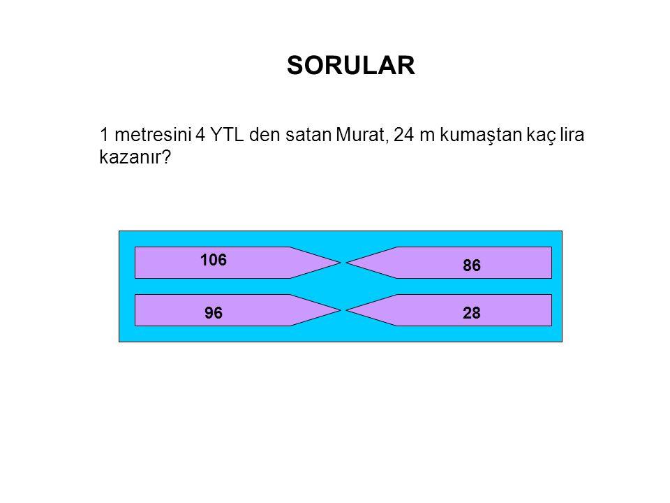 SORULAR 1 metresini 4 YTL den satan Murat, 24 m kumaştan kaç lira kazanır? 106 96 86 28