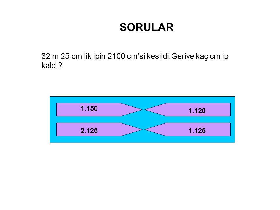SORULAR 32 m 25 cm'lik ipin 2100 cm'si kesildi.Geriye kaç cm ip kaldı? 1.150 2.125 1.120 1.125