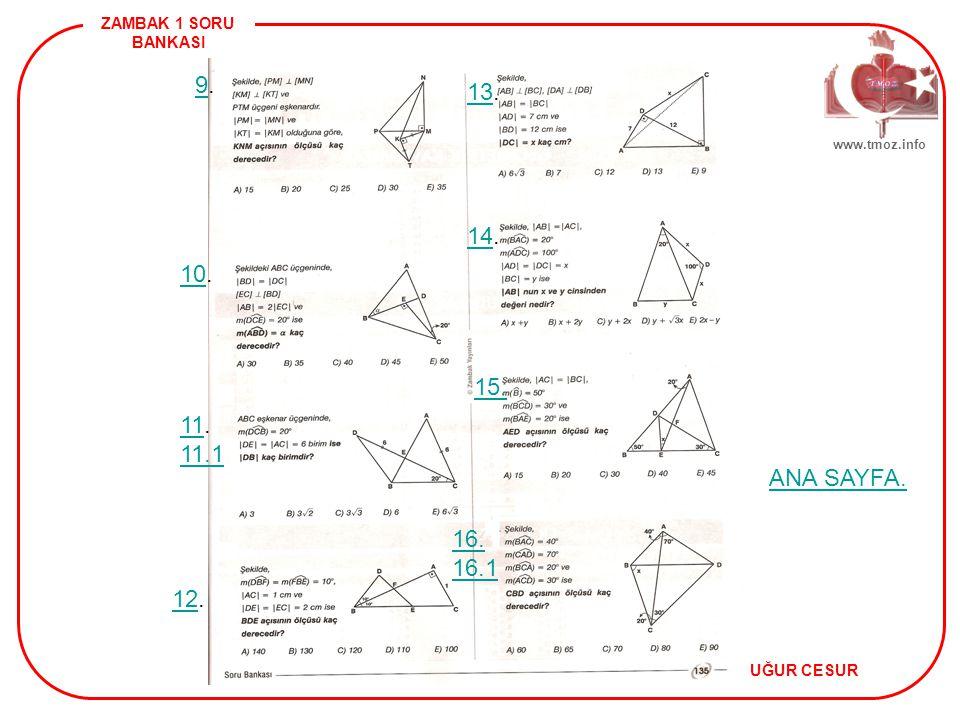 ZAMBAK 1 SORU BANKASI UĞUR CESUR www.tmoz.info 4 ANA SAYFA.