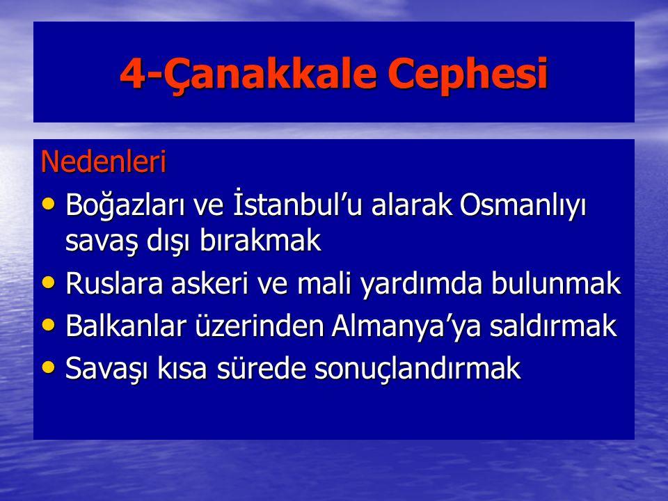 4-Çanakkale Cephesi Nedenleri Boğazları ve İstanbul'u alarak Osmanlıyı savaş dışı bırakmak Boğazları ve İstanbul'u alarak Osmanlıyı savaş dışı bırakma