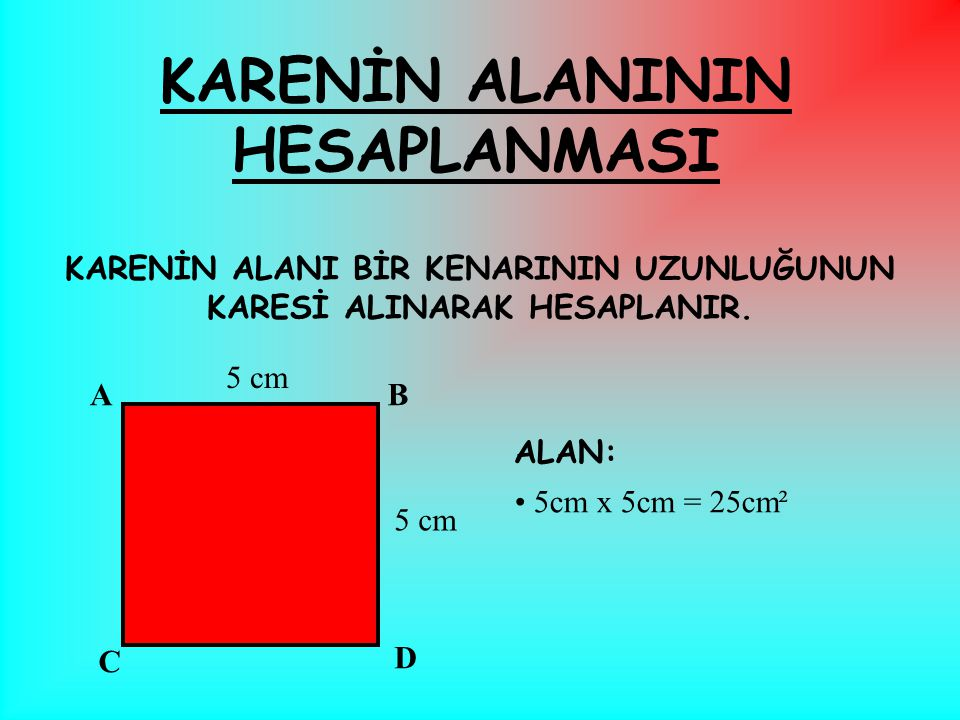 KARENİN ÇEVRESİ DÖRT KENARININ TOPLANMASI İLE HESAPLANIR. 3cm + 3cm + 3cm + 3cm = 12cm KISA YOLDAN 4 x 3cm = 12 cm buluruz. ÇEVRE: KARENİN ÇEVRESİNİN